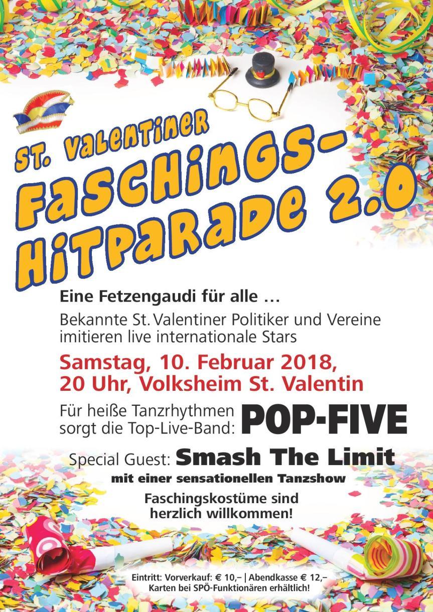 Einladung zur Valentiner Faschings-Hitparade 2.0 am10.Feb.2018