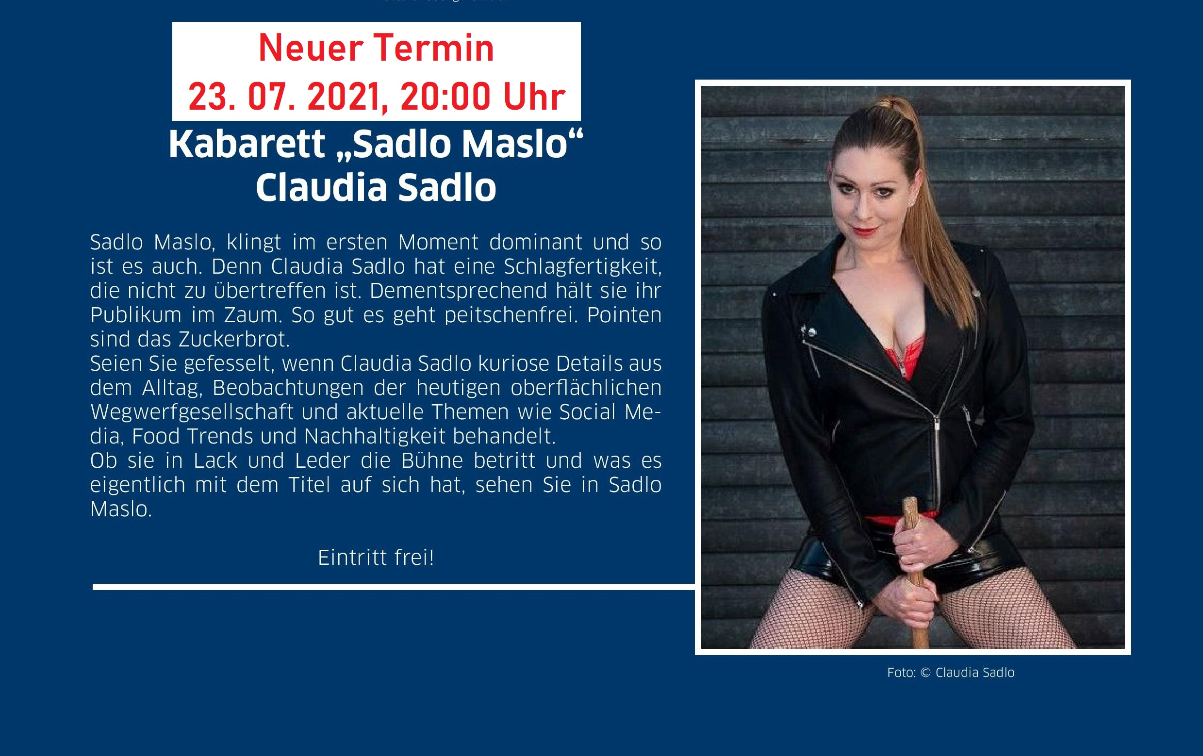 Claudia Sadlo neuer Termin